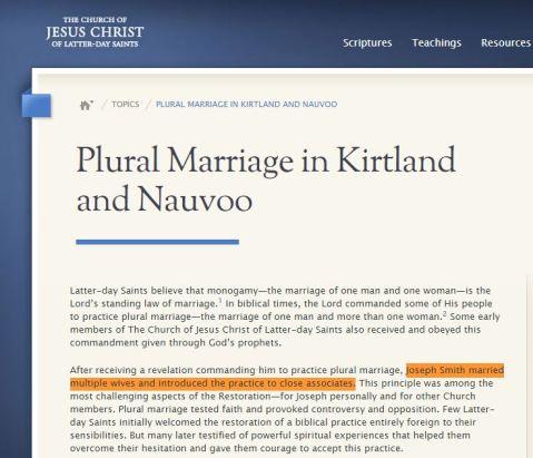 Mormon Church  Acknowledges Joseph Smith's Polygamy